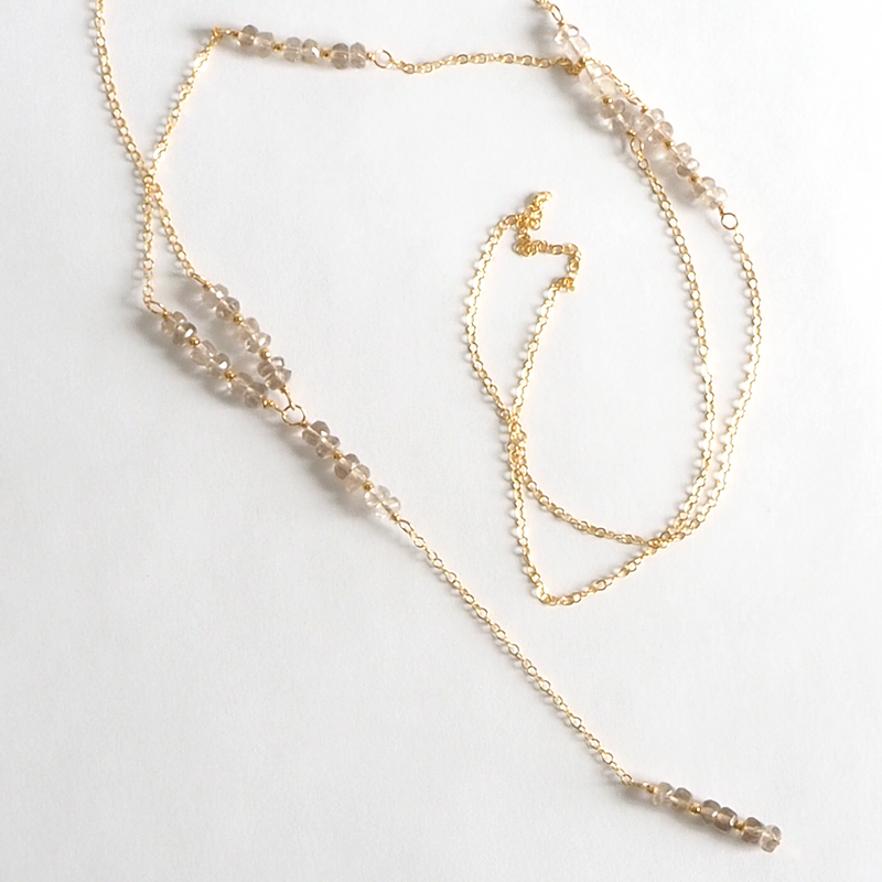 Long Smokey Quartz Lariat Necklace