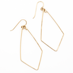 Delicate hand forged geometric teardrop earrings in 14 karat gold-fill