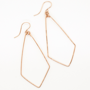 Delicate hand forged geometric teardrop earrings in 14 karat rose gold-fill