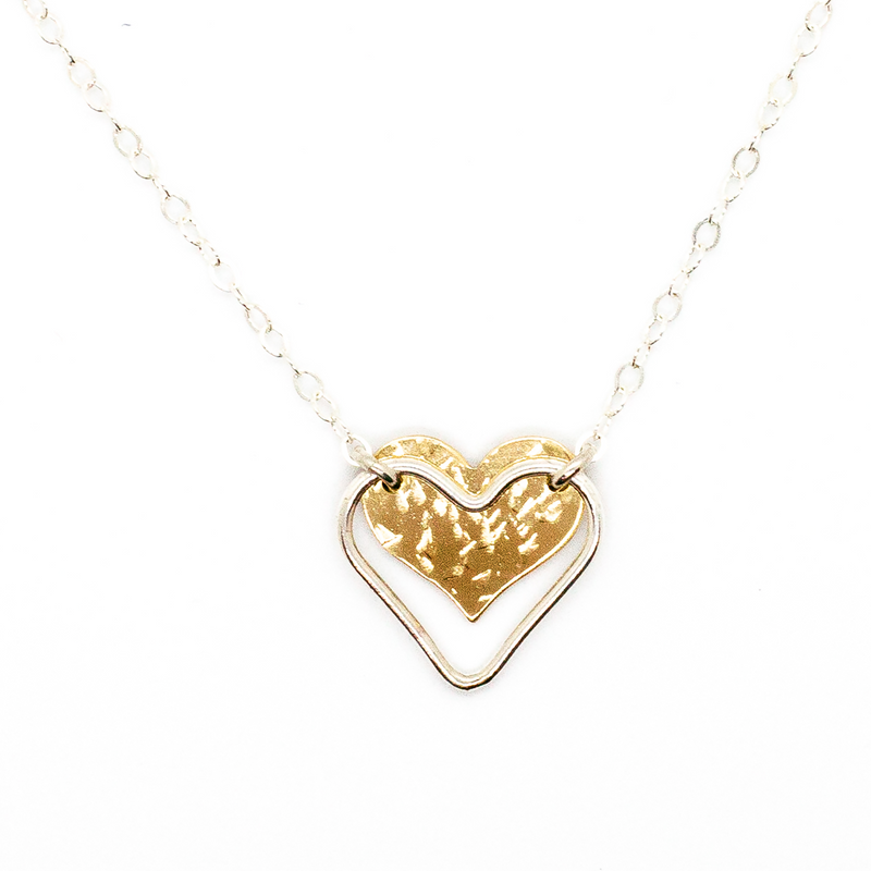 Short Delicate Chain Necklace With Hammered Double Heart Pendant in 14 karat Gold-Fill and Sterling Silver