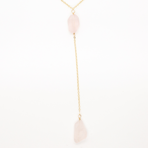 Delicate Long Lariat Necklace in 14 karat gold-fill with Two Chuncky Rose Quartz Drop