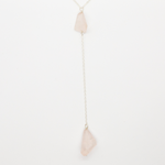 Delicate Long Lariat Necklace in Sterling Silver with Two Chunky Rose Quartz Drop
