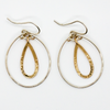 Women's Chic Double Teardrop Hoop Earrings in Silver and Gold