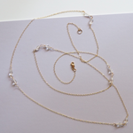 Delicate Long 14k Rose Gold-Fill Chain Necklace with Five Pairs of Faceted Teardrop Quartz Crystals