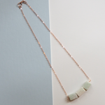 Short Delicate Chain Necklace with Three Amazonite Gemstones