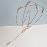 "Delicate long rose gold chain lariat necklace with moonstone clusters and a 4"" moonstone and chain drop"