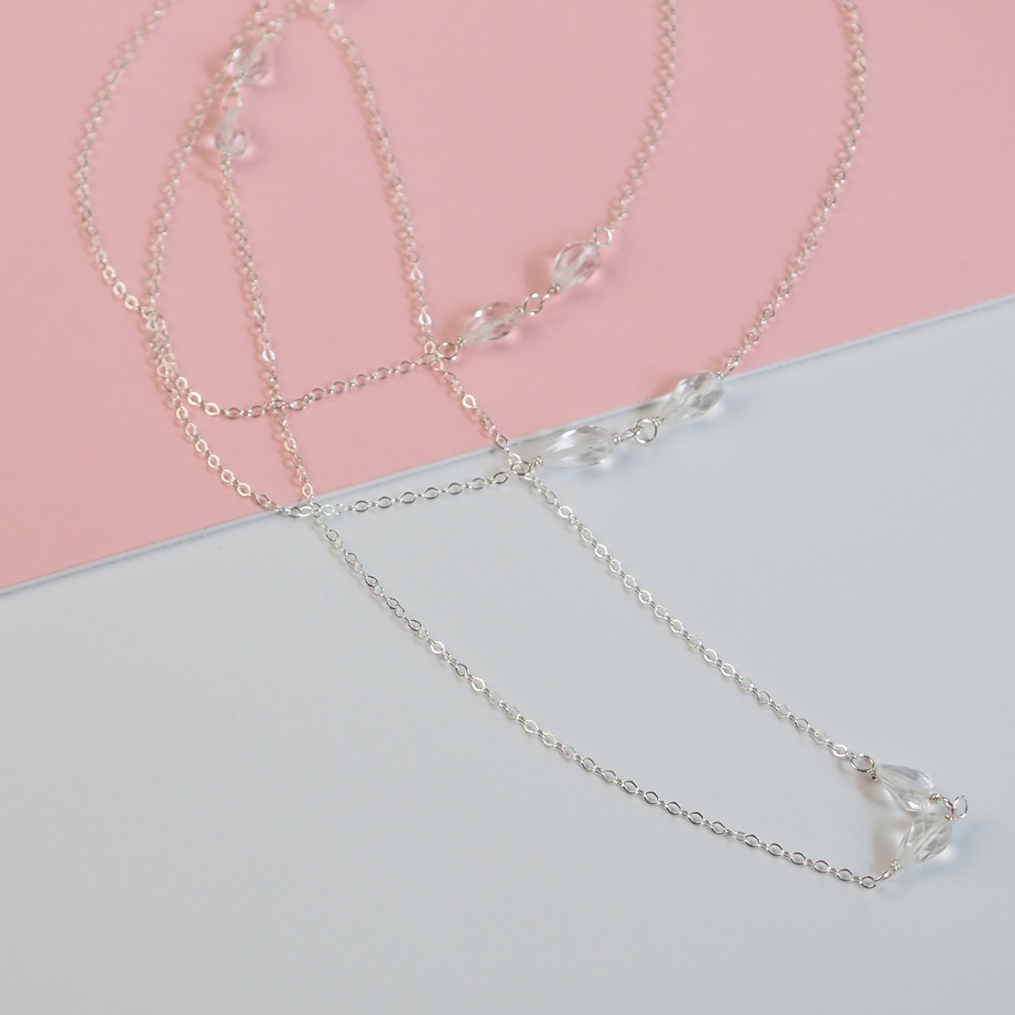 Delicate Long Sterling Silver Chain Necklace with Five Pairs of Faceted Teardrop Quartz Crystals