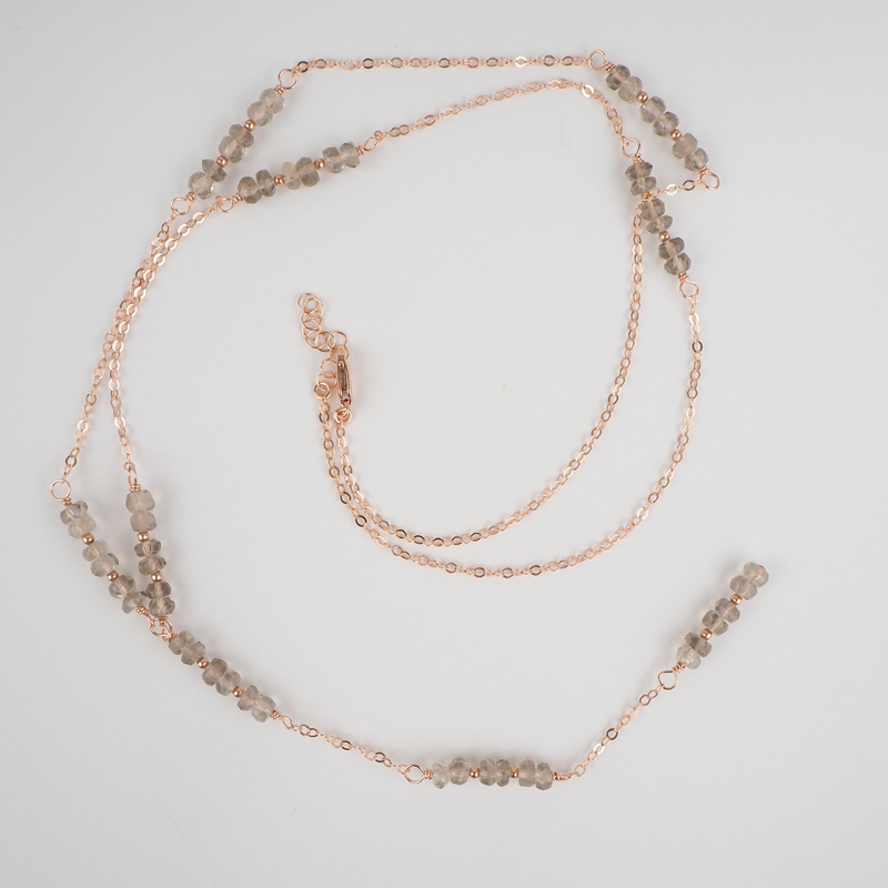 "Delicate long rose gold chain lariat necklace with smokey quartz clusters and a 4"" smokey quartz and chain drop"