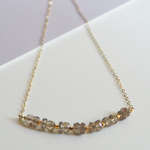 Short Delicate Necklace Adorned with Faceted Smokey Quartz and Geometric Gold Beads in 14k Gold-Fill