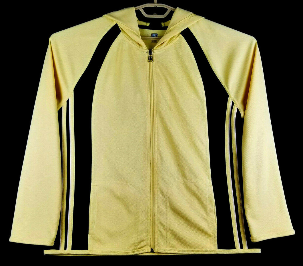 SJB Active Mens Hooded Long Sleeve Jacket - Full Zip - Yellow Black - XL