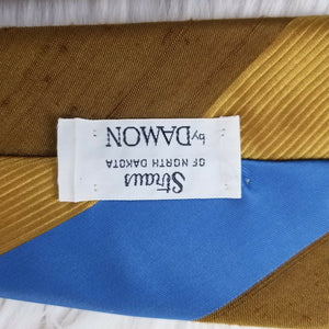 Straus Bold Stripes Necktie by DAMON-100% Polyester-Blue Gold Brown - 56""