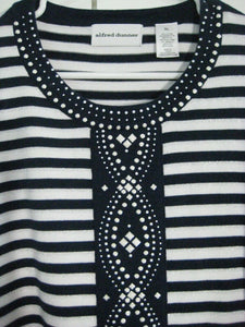 Alfred Dunner Sweater Top-Navy White Stripes w/Decoration-XL