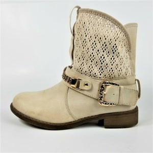 Anna Womens Tan Low Block Heel Slouch Bootie Rhinestone Belt Buckle Pull On Sz 6