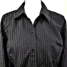 Jaclyn Smith Womens Long Sleeve Button Top-Black w/Metallic Silver Pinstripes- L