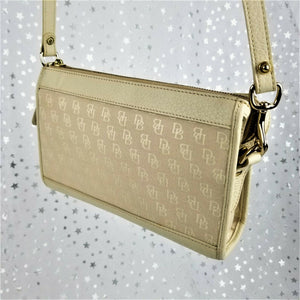 Dooney & Bourke Clutch w/ Crossbody Strap Cream & Gold w/ Hang Charm - Gorgeous!