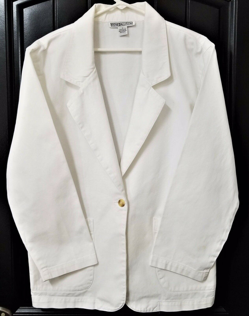 IRENE ALLISON Womens Collared White Blazer Jacket - S