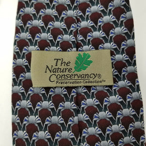 "Nature Conservancy Necktie ""Crab"" - 100% Silk - Maroon Silver Black - 59"""