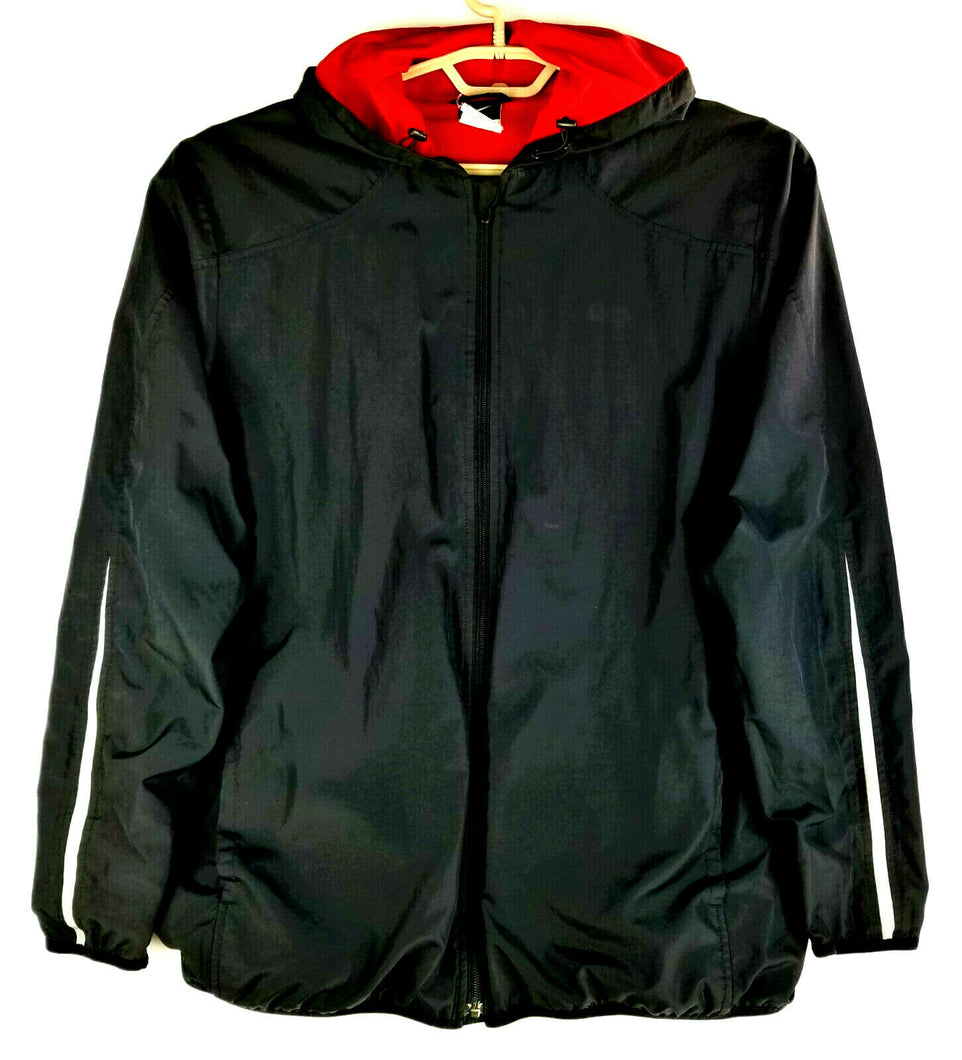 NIKE Mens Hooded Windbreaker L - Black w/Red Lining - Satin Smooth Lightweight