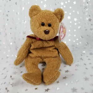 "Vintage Original TY Beanie Baby-Curly Bear-Brown 8.75""-New w/Tag & Plastic Cover"