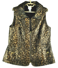 Chico's Zenergy Womens Vest - Copper Black Silver Metallic Leopard - One Size