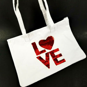 "Little Monkey White Canvas Tote with RED SEQUIN ""Love"" 15"" x 11"" - NEW"