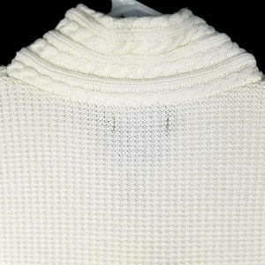 Nautica Womens Cable Knit Sweater - White - M - Long Sleeves