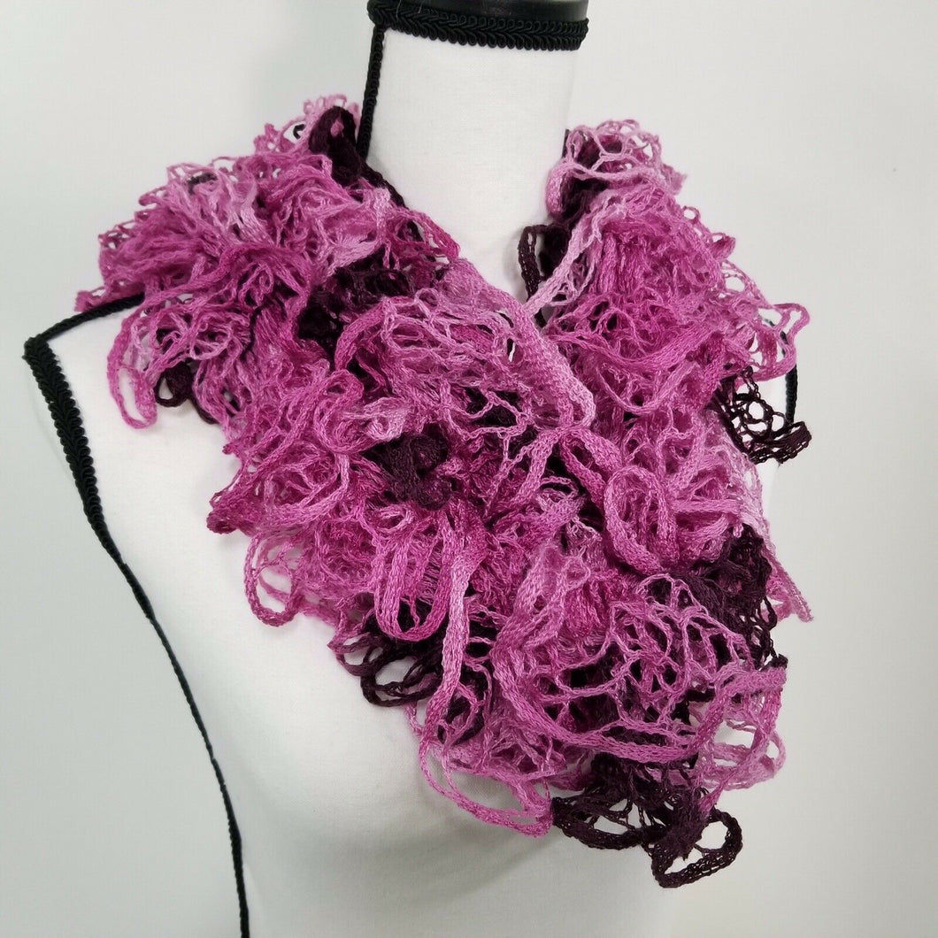 Womens Fashion Curly Crocheted Scarf - Pink & Maroon - 72