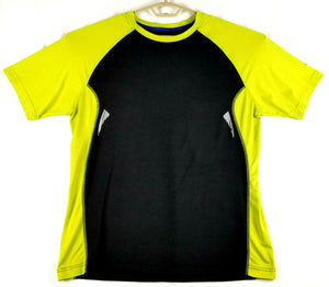Avia Mens Performance Stretchy SS T-shirt - Black w/ Lime Sleeves - L - Comfy