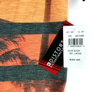 DISTORTION Mens SS T-Shirt w/Pocket V-Neck Tropical Pattern - Large - NEW w/Tags