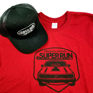 2-Pc Set - SUPER RUN Car Show T-Shirt XL & Hat - Mesquite NV - Red Black - NWOT