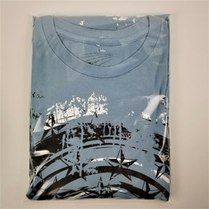 Spinning Stars T-shirt by Surplus - Light Blue w/Imprint - XL