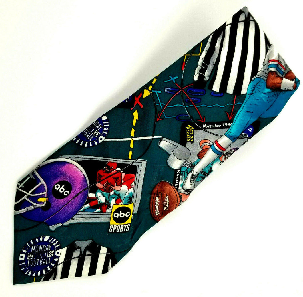 Nicole Miller 1994 abc Sports Monday Night Football Silk Necktie 58