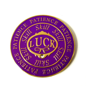 """LUCK SKILL PATIENCE"" Poker Card Guard Cover Protector Spinner - Purple/Gold NEW"