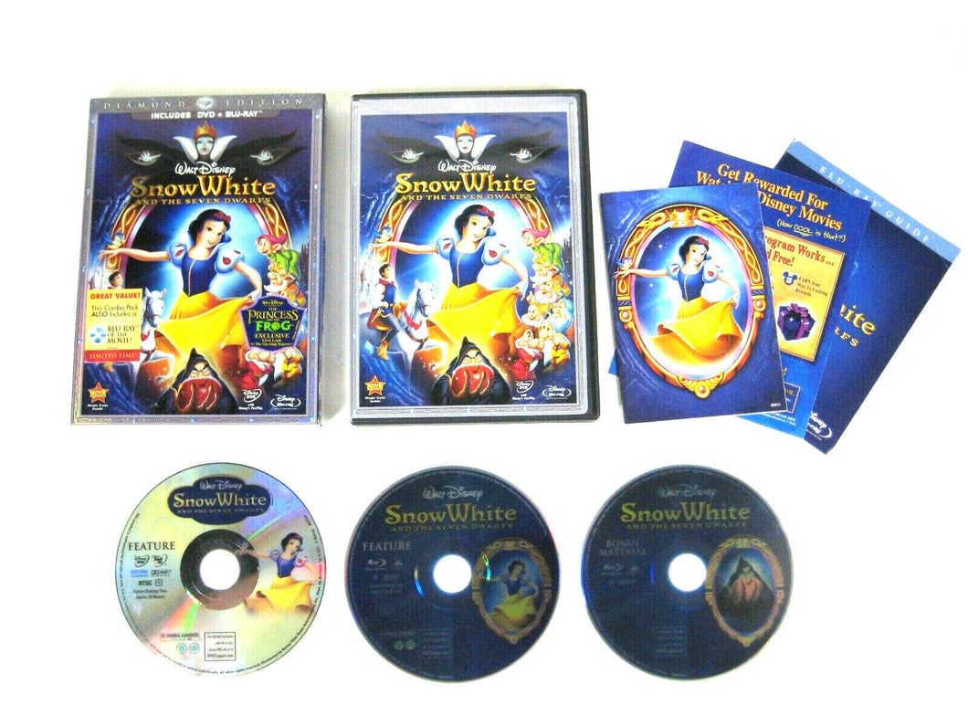 Snow White Disney Animated Classic #1: Blu-Ray + DVD & BONUS MOVIE (3 Disk) NEW!