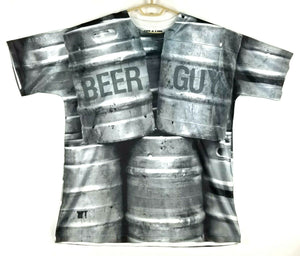 GET A LIFE Mens Short Sleeve Sateen T-Shirt  - BEER GUY - L - Polyester - Gray