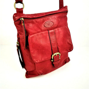 Vintage CUOIERIA FIORENTINA Vegan Leather Handbag RED Crossbody Messenger Style