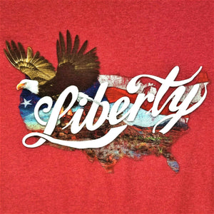 Delta Pro Weight Mens LIBERTY EAGLE Patriotic T-Shirt -Crimson Red-M -EXCELLENT!