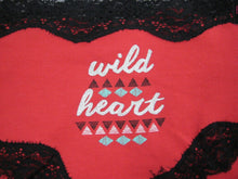 "B Intimates Bikini Panties ""Wild Heart Red w/Black Lace Trim Sz-L"