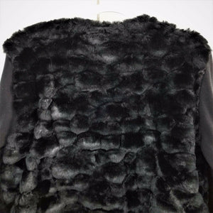 Lisa Int'l Womens Faux Fur Short Bomber Jacket-Button Up - Black-XL-NWOT