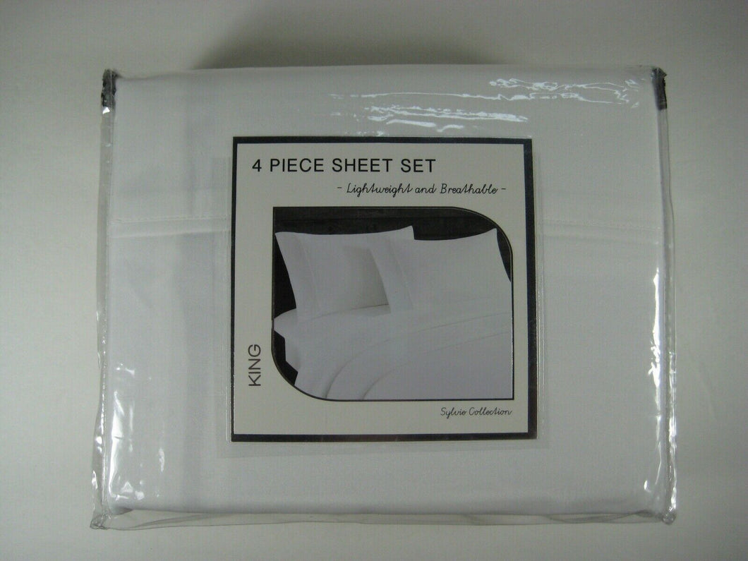 King Sheet Set-Sylvie Collection! White- Lightweight & Breathable- Reduced!