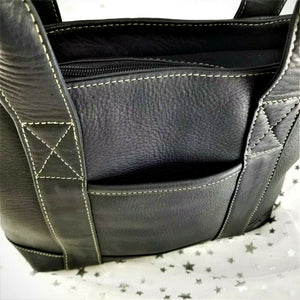 Le Donne Leather Collection Satchel Zip Top - Black w/White Stitch Trim - NWOT