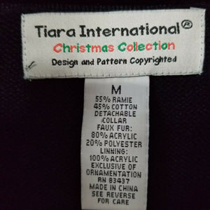 Tiara Int'l Christmas Collection Womens Holiday Glitzy Snowflake Sweater-Black-M