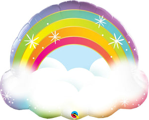 "Rainbow on Bed of Clouds 32"" Foil Balloon Celebrate Birthday Party Supplies"