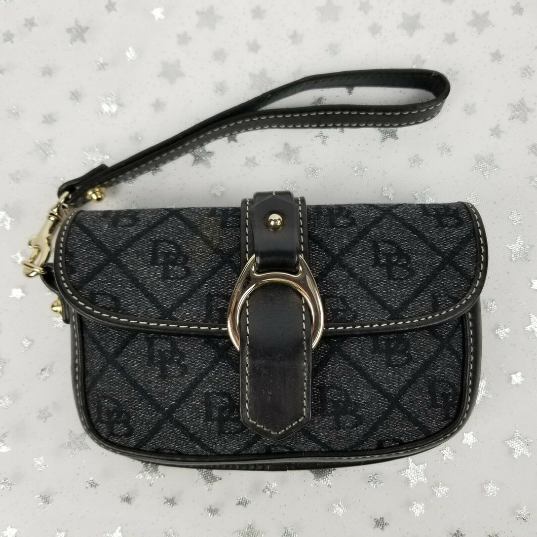 Dooney & Bourke Mini Purse or Wristlet ~ Black Signature Design Gold Hardware