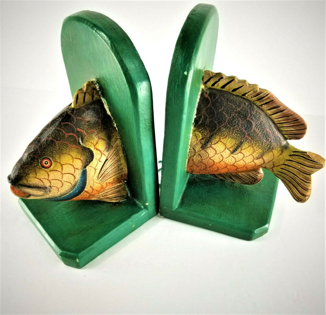 Vintage Rustic Handmade Wooden Fish Bookends - Good for