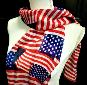 "USA Flag Womens Scarf - Red White Blue Stars & Stripes - 63"" x 13.75"" - NEW!"