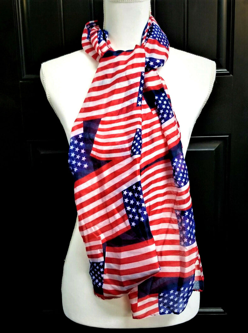 USA Flag Womens Scarf - Red White Blue Stars & Stripes - 63