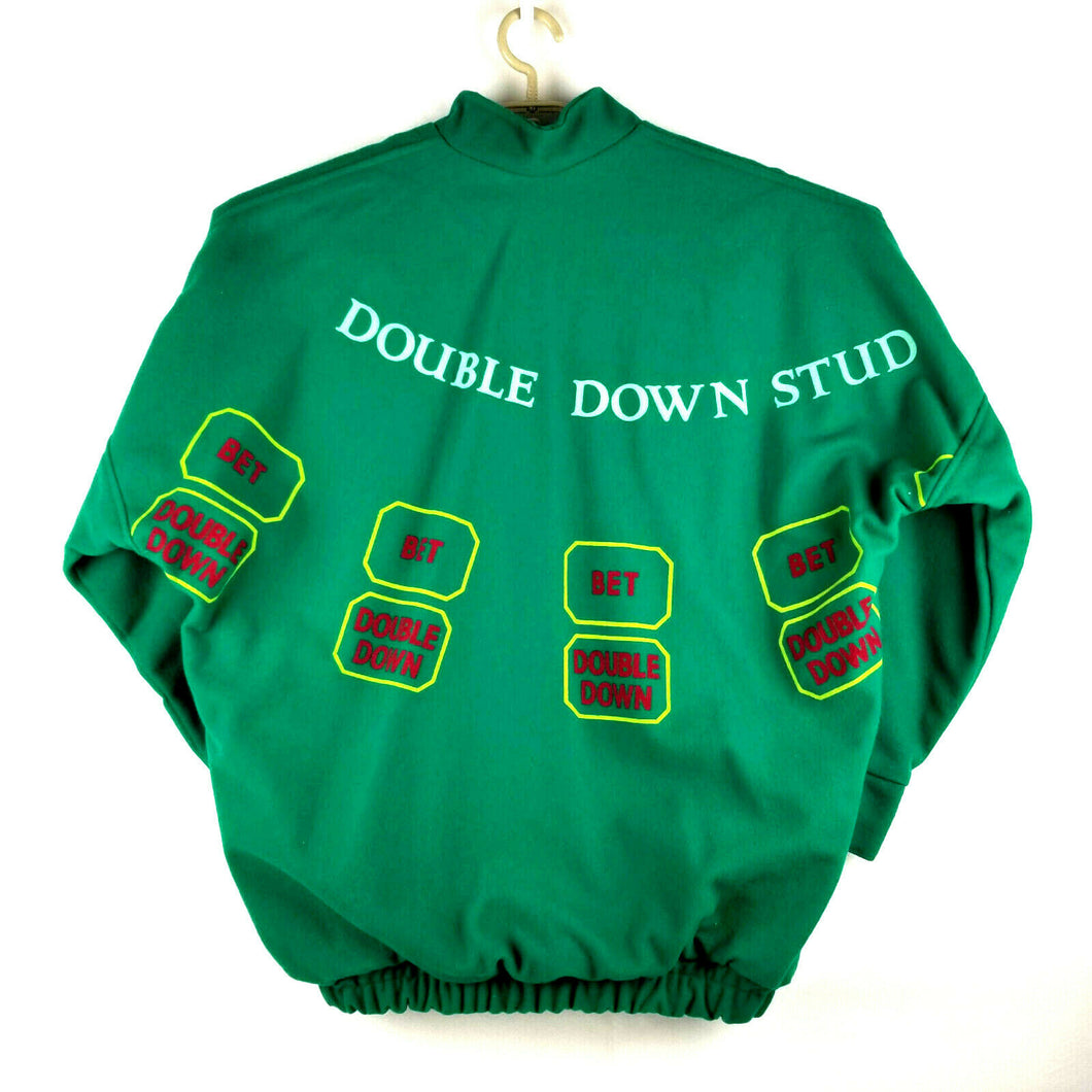 Vintage NGV Gamblers Jacket Double Down Stud Poker - Green Felt - L - Pockets