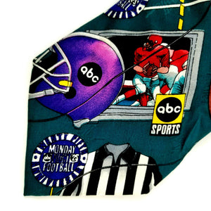 "Nicole Miller 1994 abc Sports Monday Night Football Silk Necktie 58"" L - 4"" W"