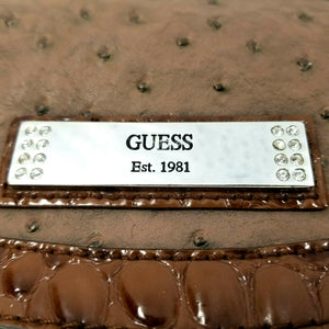 GUESS Satchel Handbag Brown w/Silver Hardware Nibbed Texture Large Pouches